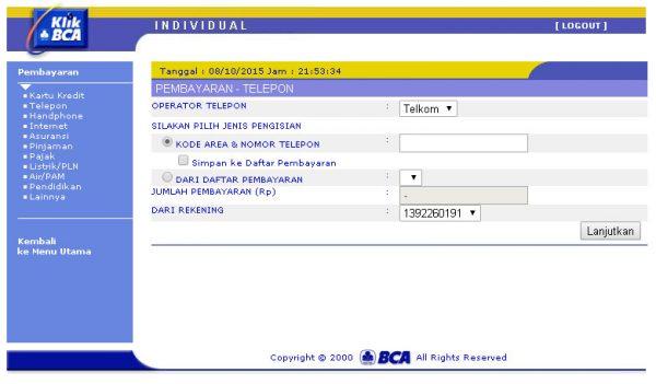 Pembayaran tagihan Telkom melalui KlikBCA