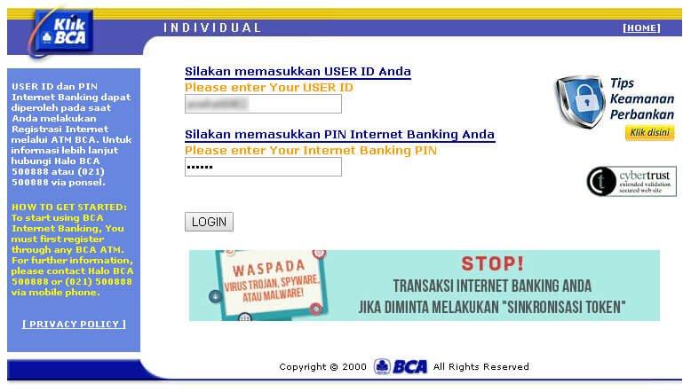 KlikBCA - Login ke halaman web KlikBCA