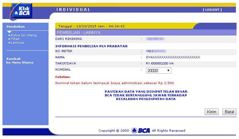 KlikBCA - Halaman Informasi Pembelian PLN Prabayar