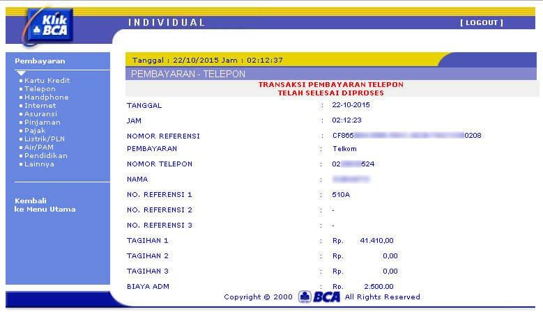 KlikBCA - Pembayaran tagihan telepon Telkom berhasil