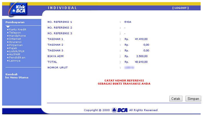 KlikBCA - Pembayaran tagihan telepon Telkom selesai