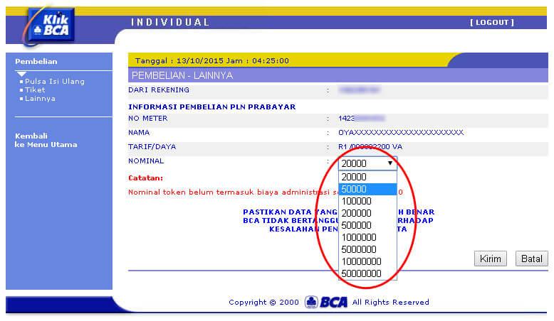 KlikBCA - Pilih nominal token listrik PLN Prabayar