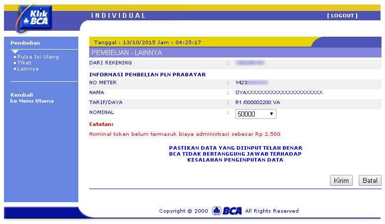 KlikBCA - Nominal Token LIstrik PLN Prabayar dipilih