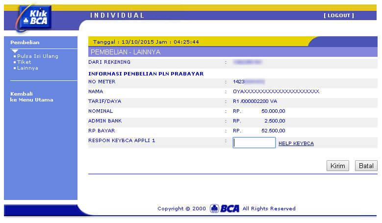 KlikBCA - Halaman Informasi Pembelian PLN Prabayar - respon KeyBCA Appli 1
