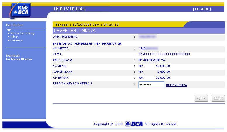 KlikBCA - Informasi Pembelian Token LIstrik PLN Prabayar - masukkan kode respon KeyBCA Appli 1