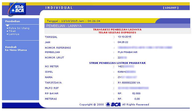 KlikBCA - Transaksi pembelian pulsa listrik PLN prabayar selesai