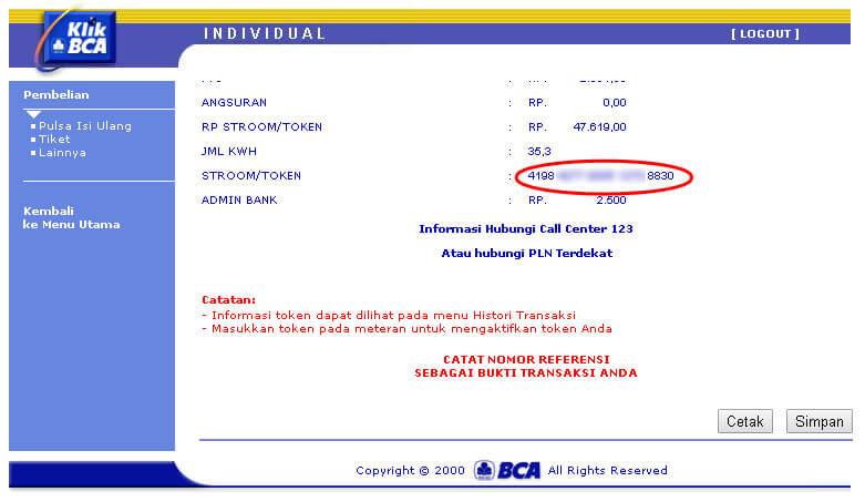 KlikBCA - Kode token pulsa listrik PLN prabayar