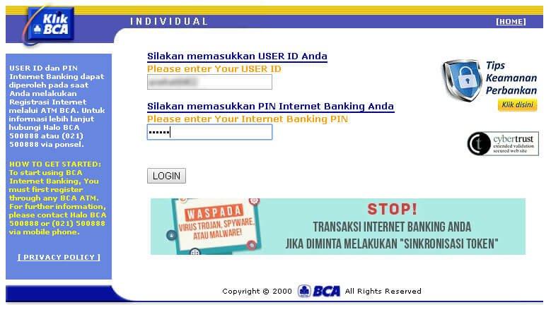 Tampilan login situs KlikBCA