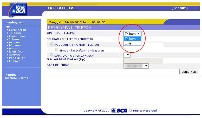 KlikBCA - Pilih Telkom dari pilihan Operator Telepon