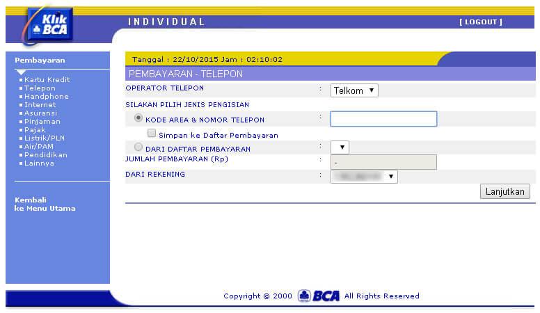 KlikBCA - halaman menu Pembayaran Telepon