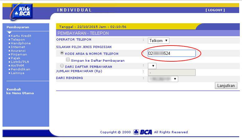 KlikBCA - Masukkan kode area dan nomor telepon
