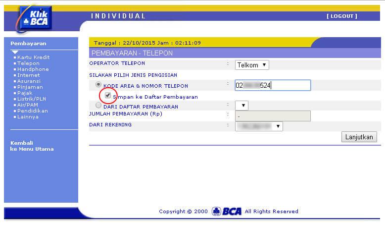 KlikBCA - Centang 'simpan ke daftar pembayaran' pada halaman pembayaran telepon