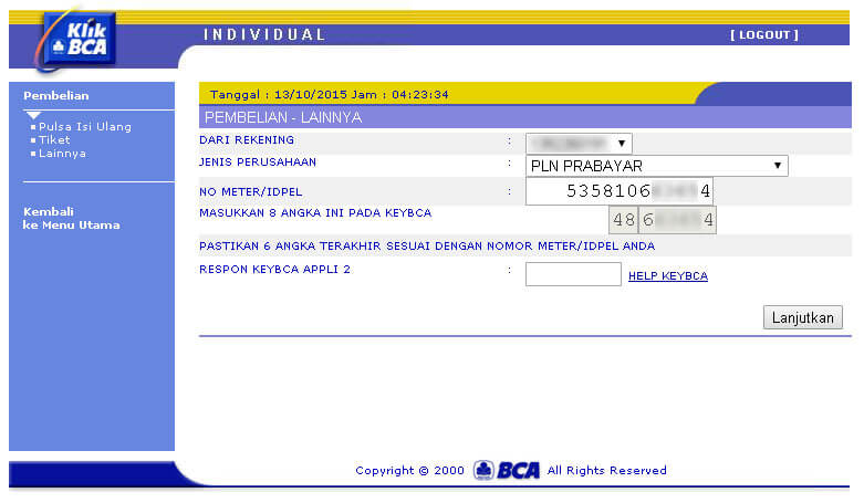KlikBCA - masukkan ID Pelanggan PLN atau nomor meter
