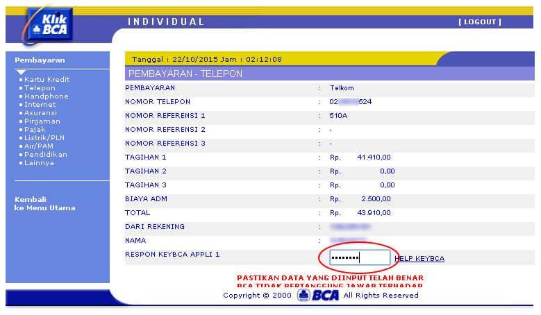 KlikBCA - Masukkan kode respon dari KeyBCA aplli 1 untuk pembayaran telepon Telkom