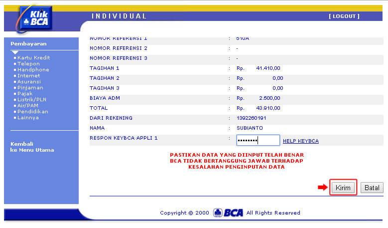 KlikBCA - Tekan tombol Kirim pada halaman pembayaran telepon Telkom