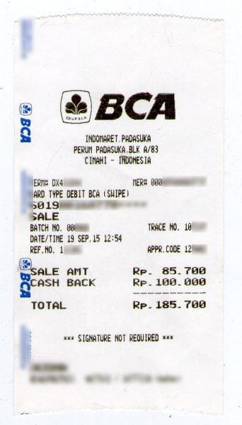Struk BCA Pembayaran PDAM Tirta Raharja di Indomaret
