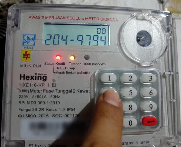 Memasukkan kode token baru 8 digit pada meteran listrik Hexing