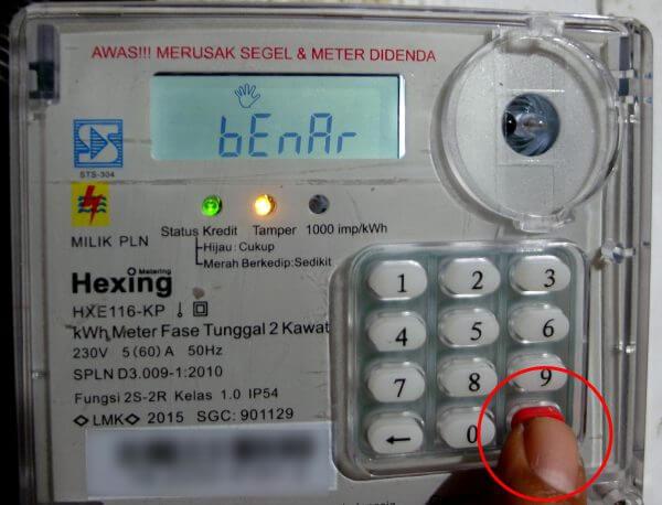 """Tekan tombol """"Enter"""" setelah memasukkan 20 digit kode token listrik"""