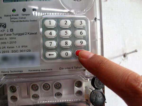 Meteran listrik prabayar Hexing - kode 123360 tekan Enter