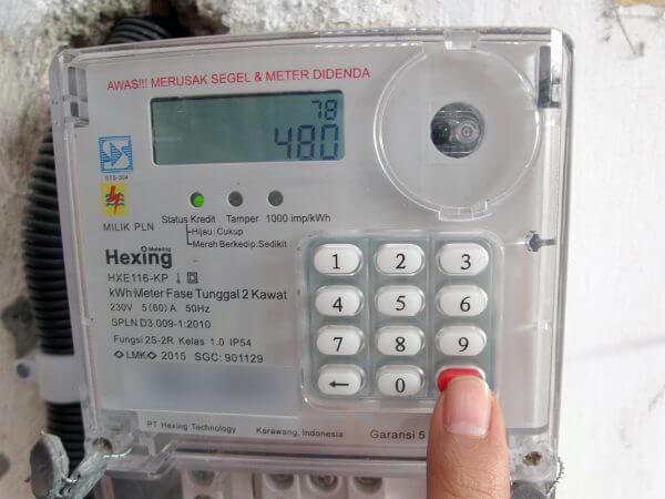 Meteran listrik prabayar Hexing - kode 78 tekan Enter