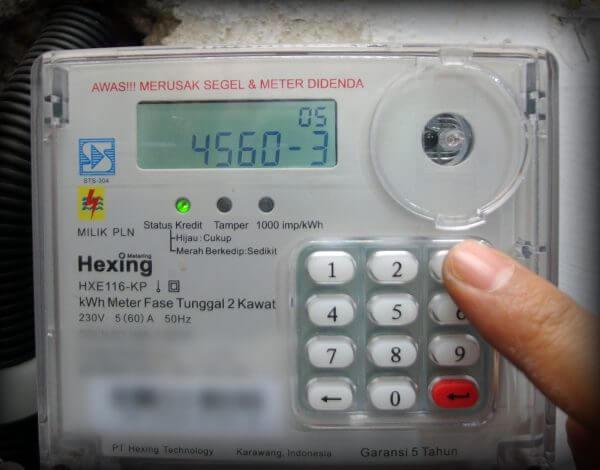 Tekan kode perintah 45603 (ubah batas kWh minimum untuk alarm pada meter listrik prabayar)