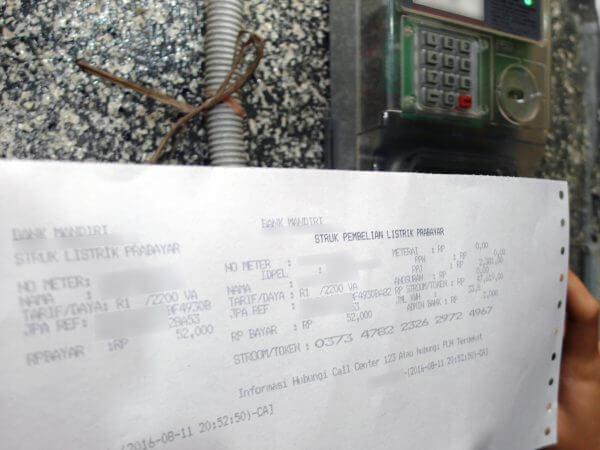 Kode token untuk meteran lain akan dimasukkan kepada KWh Meter merek Fuji tipe FA14EPP