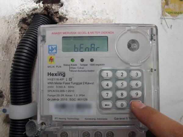 KWh meter merek Hexing HXE116KP - pengisian pulsa listrik berhasil