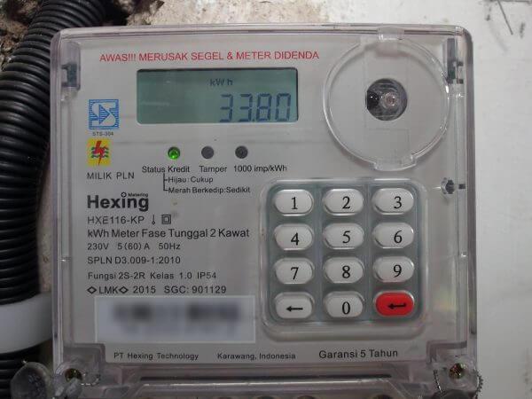 KWh meter merek Hexing HXE116KP - setelah diisi pulsa listrik