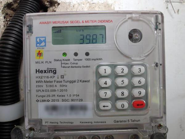 KWh meter merek Hexing HXE116KP - stroom pulsa listrik telah bertambah