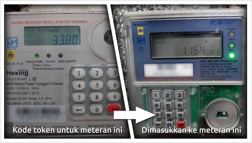 Kode token untuk meteran A dimasukkan ke maeteran B