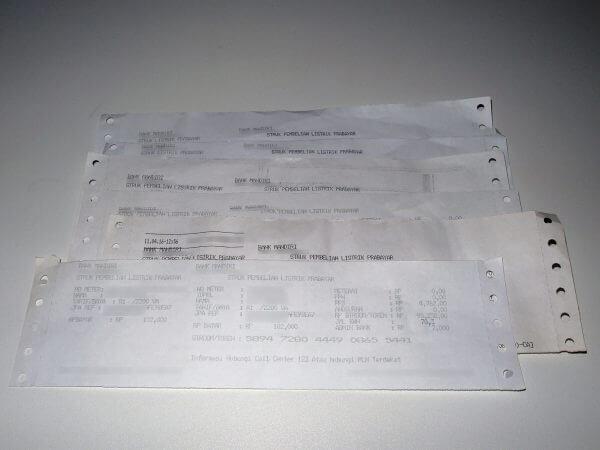 Contoh struk pembelian token listrik PLN dari Indomaret