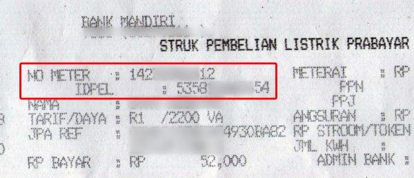 Nomor meter dan ID pelanggan PLN di struk pembelian token