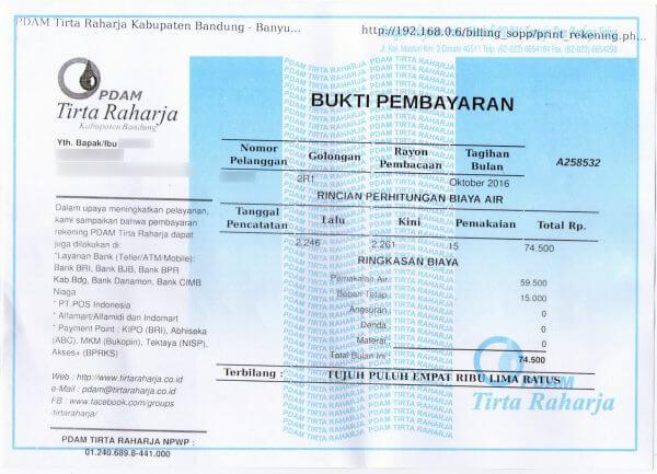 Bukti pembayaran tagihan PDAM Tirta Raharja bulan Oktober 2016