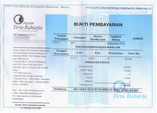 Bukti pembayaran tagihan PDAM Tirta Raharja bulan September 2016