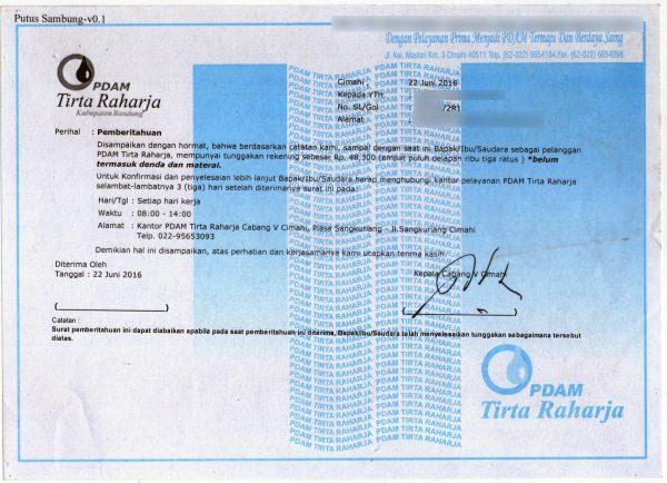 Surat peringatan tunggakan karena telat membayar tagihan PDAM Tirta Raharja