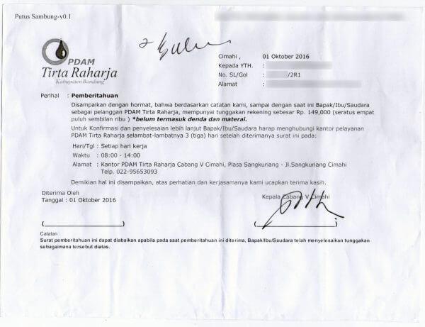 Surat peringatan tunggakan PDAM Tirta Raharja