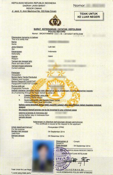 Contoh SKCK ( Surat Keterangan Catatan Kepolisian) Polres Cimahi