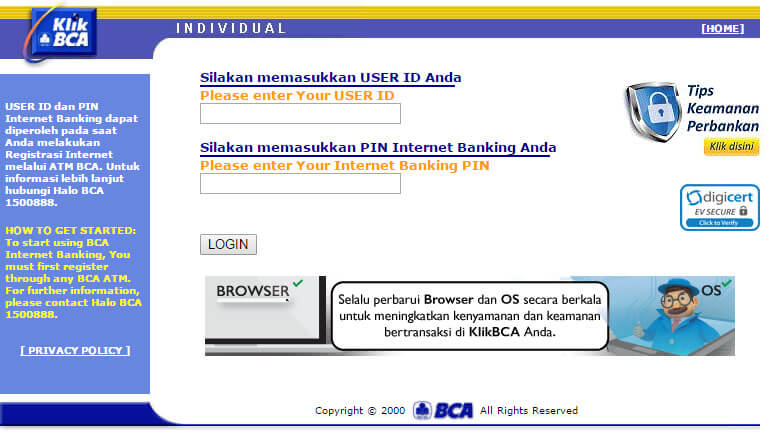 Bayar tagihan listrik via KlikBCA - website KlikBCA