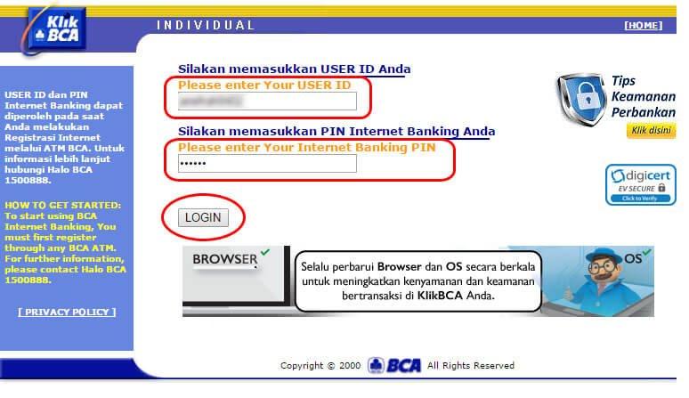 Bayar tagihan listrik via KlikBCA - login