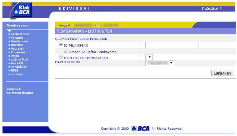 Bayar tagihan listrik via KlikBCA - halaman Pembayaran Listrik/PLN