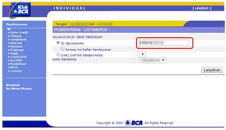 Bayar tagihan listrik via KlikBCA - masukkan ID pelanggan (nomor rekening PLN)