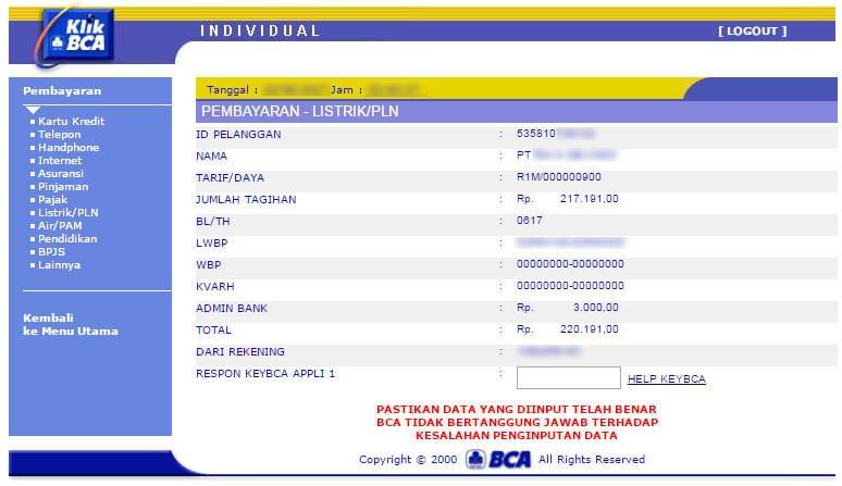 Bayar tagihan listrik via KlikBCA - halaman detail pembayaran Listrik/PLN