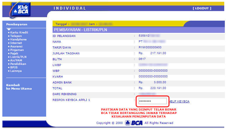 Bayar tagihan listrik via KlikBCA - masukkan respon KeyBCA appli 1