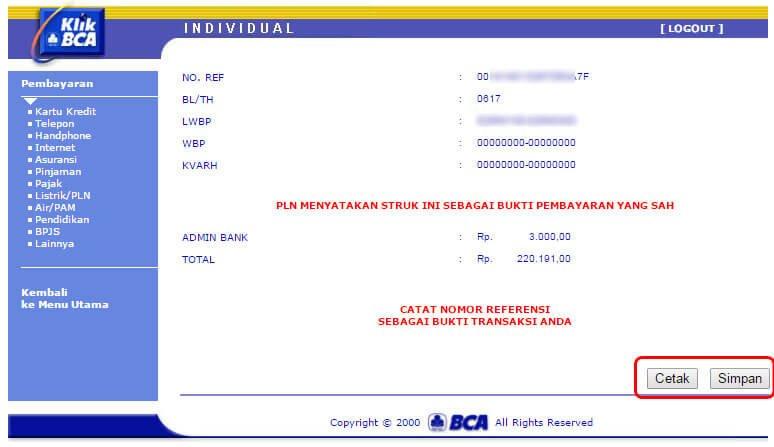 """Bayar tagihan listrik via KlikBCA - halaman """"Transaksi selesai diproses"""" bagian 2"""