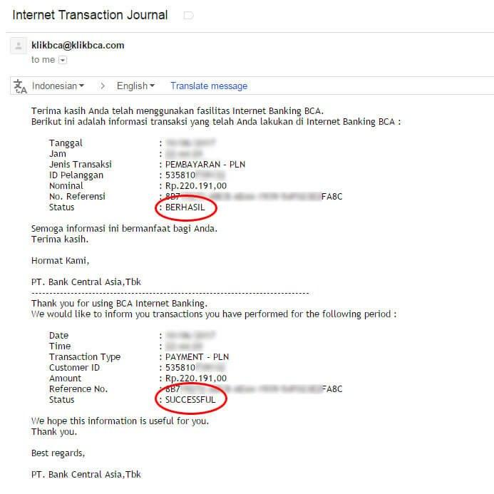 Bayar tagihan listrik via KlikBCA - email notifikasi dari klikBCA
