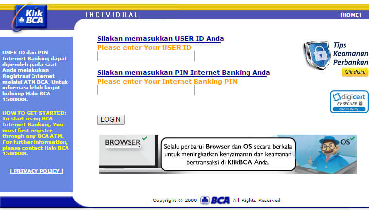 Cara bayar tagihan internet IndiHome lewat KlikBCA - website KlikBCA