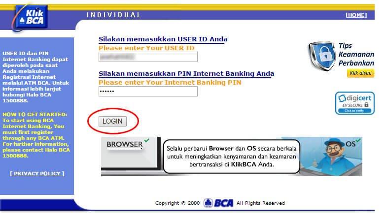 Cara bayar tagihan internet IndiHome lewat KlikBCA - login