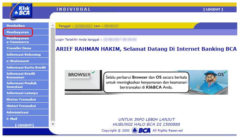 Cara bayar tagihan internet IndiHome lewat KlikBCA - klik menu Pembayaran