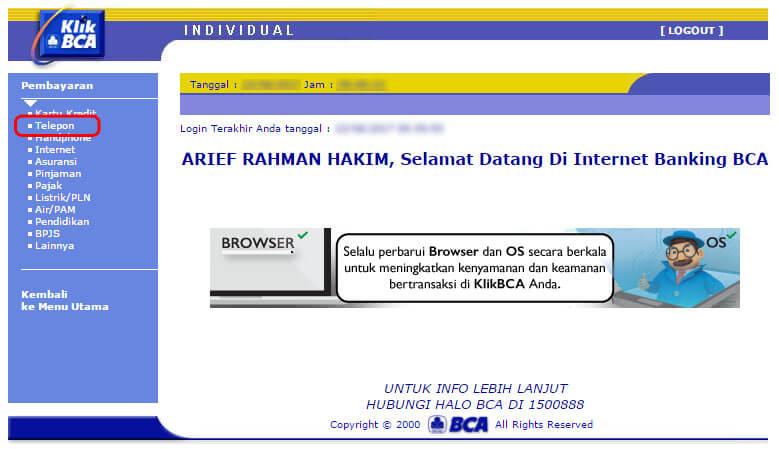 Cara bayar tagihan internet IndiHome lewat KlikBCA - klik menu Telepon