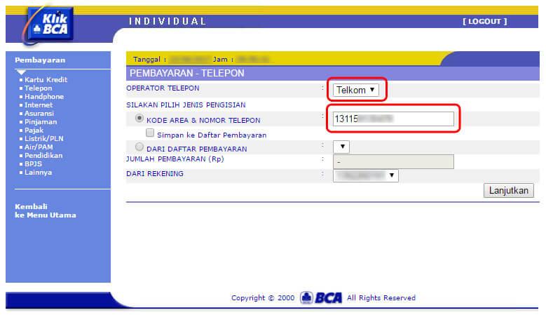Cara bayar tagihan internet IndiHome lewat KlikBCA - masukkan nomor rekening internet / telepon